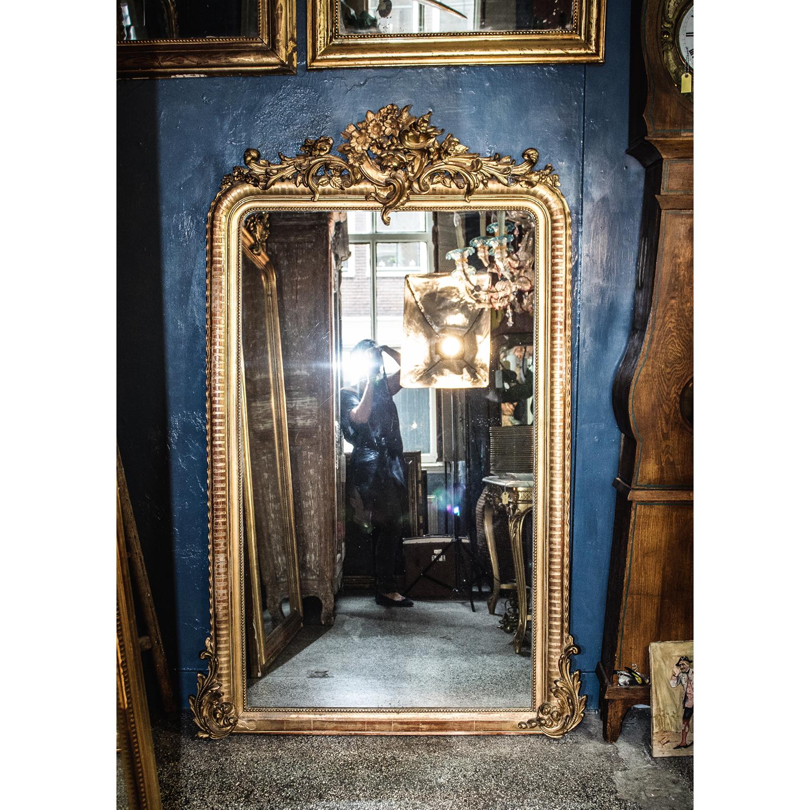 Large Mirror Rococo Crest Wildschut Antiques Amsterdam